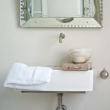 Pure linen white waffle design hand towel by The Linen Works on Oates & Co.