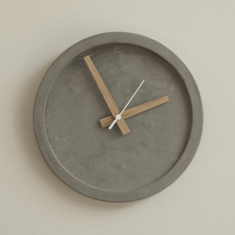 Grey Concrete Wall Clock by Wild + Wood