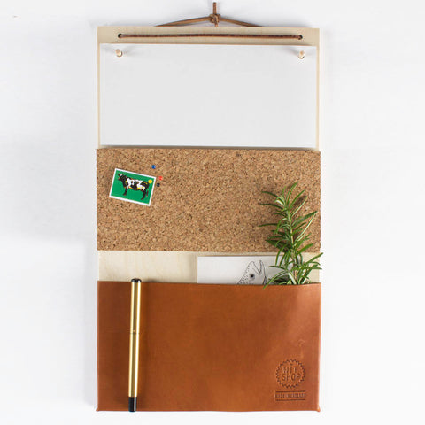 Hanging Organiser with Leather Pocket by Witshop