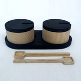 Wooden salt and pepper pots made in Britain by Tanti Design on Oates & Co.