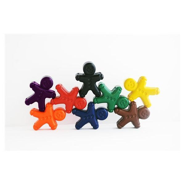 Hand poured gingerbread men shaped crayons in eight colours on Oates & Co.