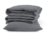 Pre-washed charcoal grey linen housewife pillowcase on Oates & Co.