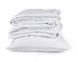 Pure White 100% Linen Housewife Pillow Case by The Linen Works on Oates & Co.