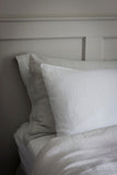 The Linen Works Classic White Linen Housewife Pillowcases on Oates & Co.