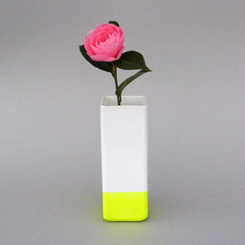 Square White Vase with Neon Dipped Base Handmade by Taz Pollard on Oates & Co.