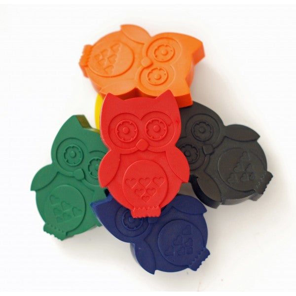 Colourful owl crayons in a variety of colours on Oates & Co.