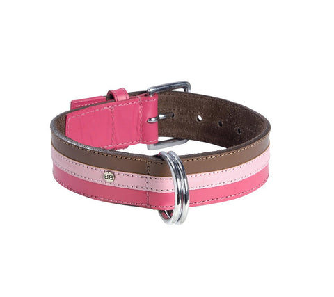 Tri-coloured Leather Dog Collar (Rose, Pink & Brown)