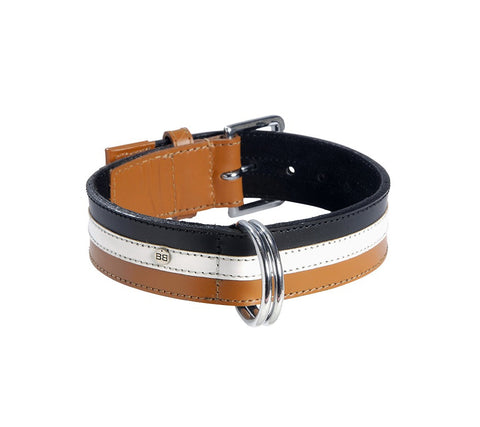 Tri-coloured Leather Dog Collar (Tan, Cream & Black)