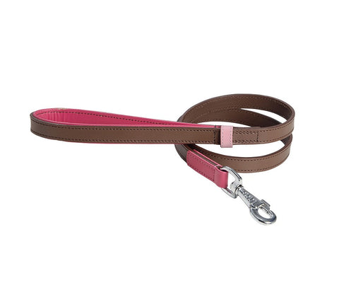 Tri-coloured Leather Dog Lead (Rose, Pink & Brown)