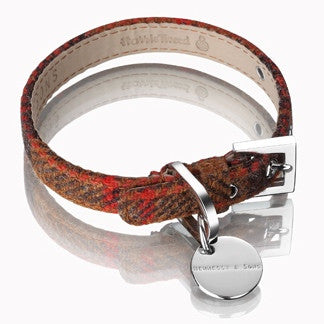 Harris Tweed Dog Collar (Rust Brown)