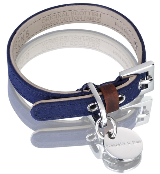 Scottish Wax Cotton Dog Collar (Blue)