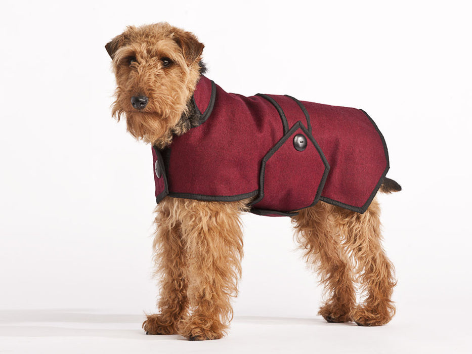 Wool Dog Coat (Maroon)