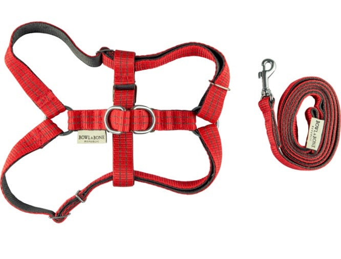 Dog harness & lead set (Red)