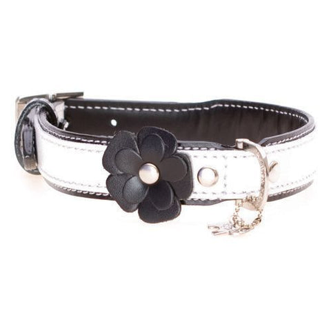 Flower Black Dog Collar