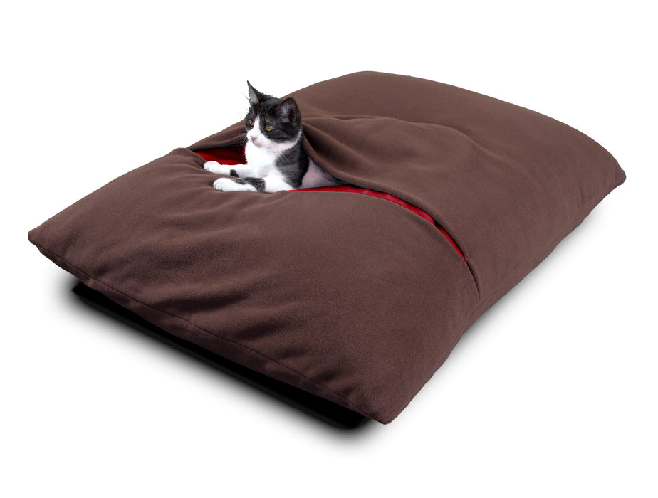 Divan Due Pet Bed with Blanket (Brown/Red)