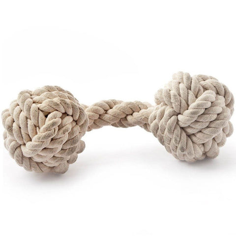 Natural Knotted Rope Dog Toy (Dumbbell)