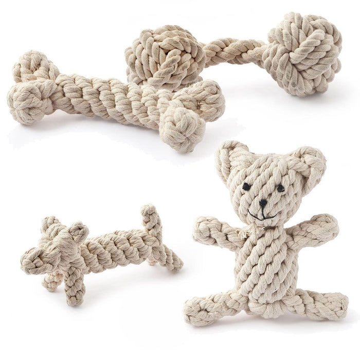 Natural Knotted Rope Dog Toy (Bone)