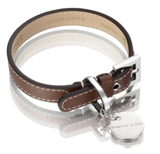 Oxford Saffiano Dog Collar (Chocolate Brown)