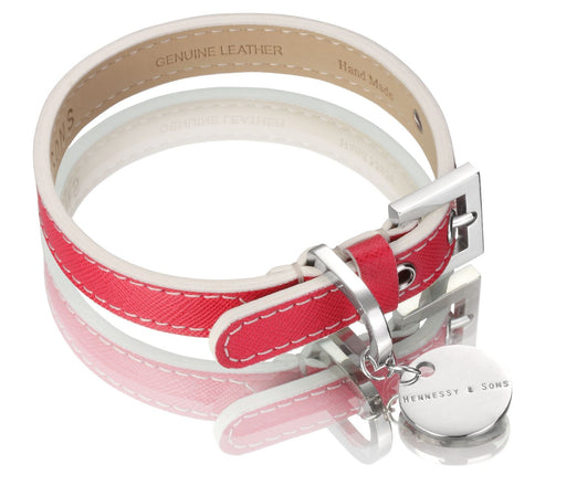 Oxford Saffiano Dog Collar (Fuchsia)