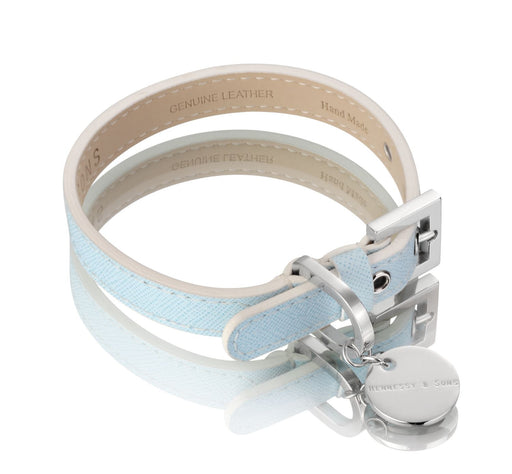 Oxford Saffiano Dog Collar (Baby Blue)