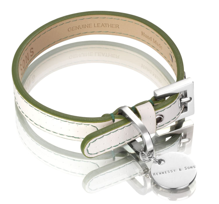 Polo Club Dog Collar (White & Green)