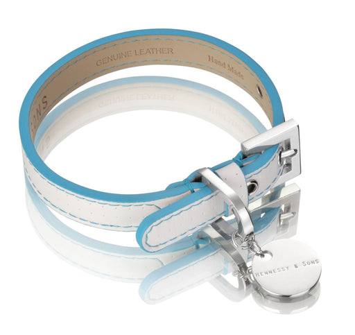 Polo Club Dog Collar (White & Blue)