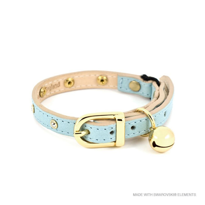 Leather with Crystals Cat Collar (Baby Blue)