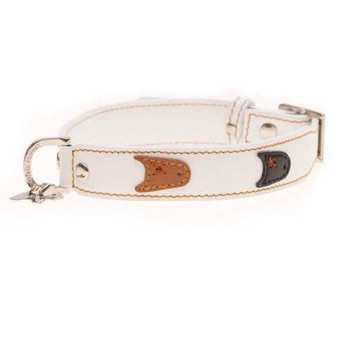 Bobo et Milou White Dog Collar