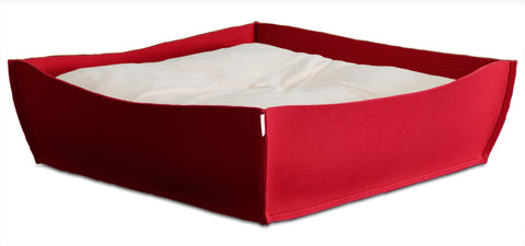 Felt Orthopedic Dog Bed (Red)