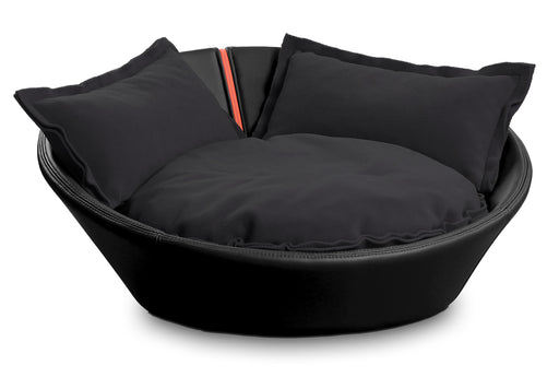 Mila Faux Leather Pet Bed (Black)