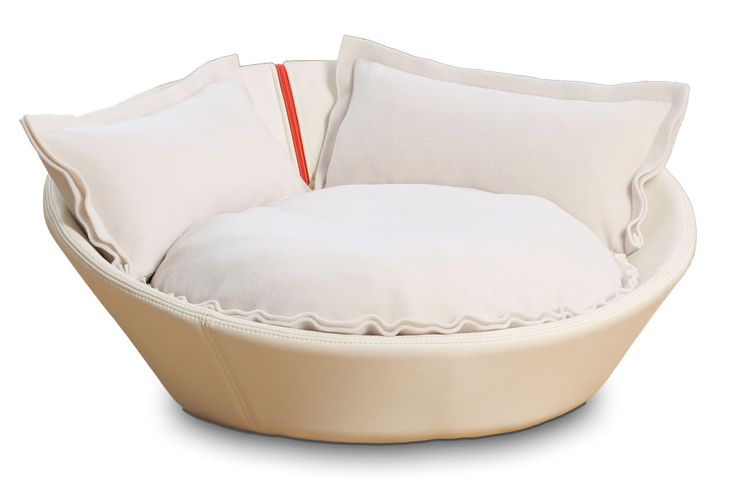 Mila Faux Leather Pet Bed (Cream)