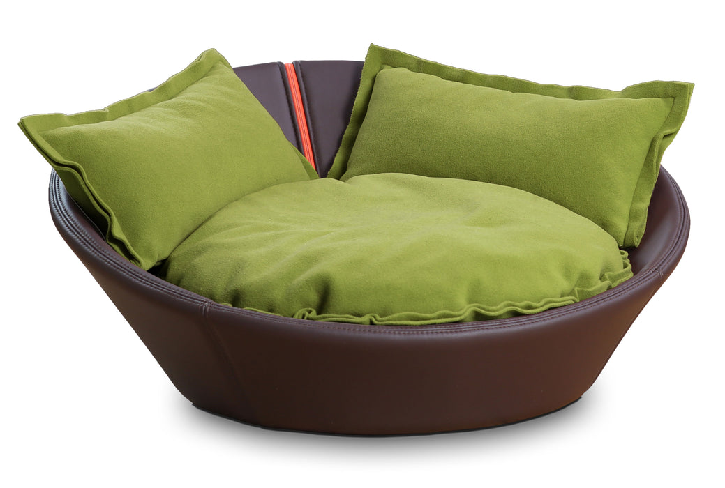 Mila Faux Leather Pet Bed (Maroon)