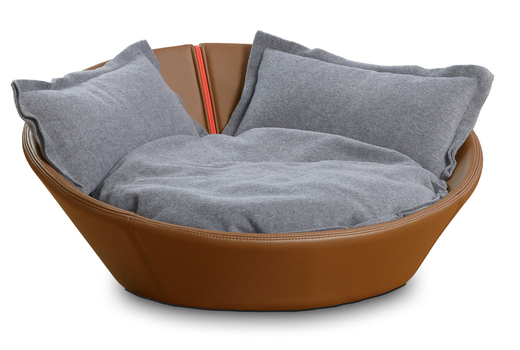 Mila Faux Leather Pet Bed (Nougat)