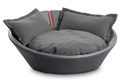 Mila Faux Leather Pet Bed (Stone Grey)