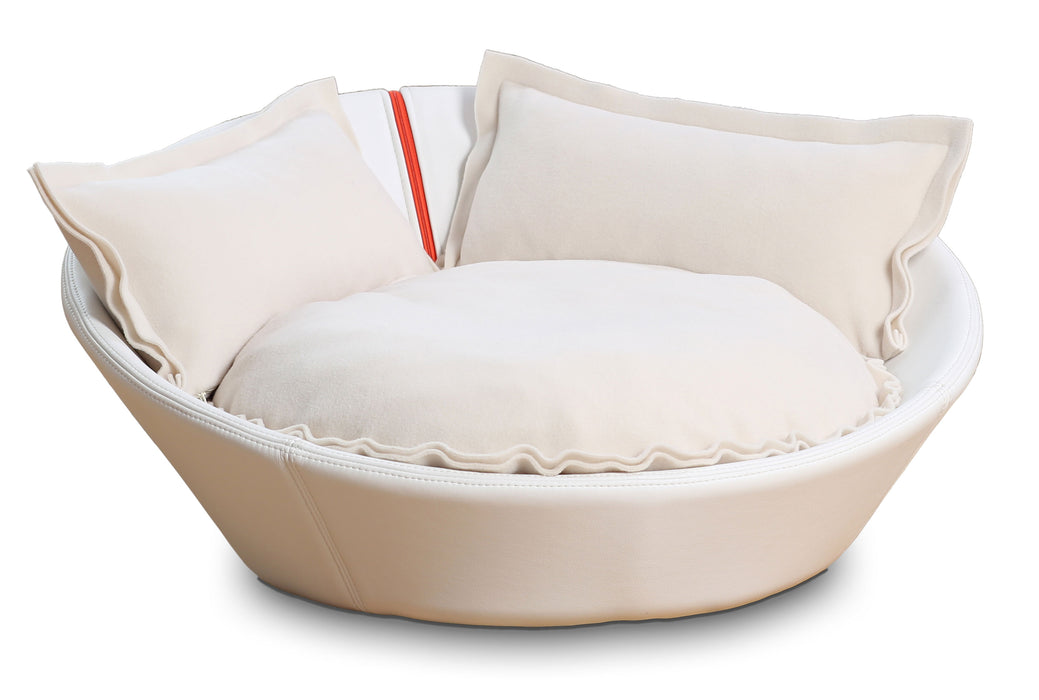 Mila Faux Leather Pet Bed (White)