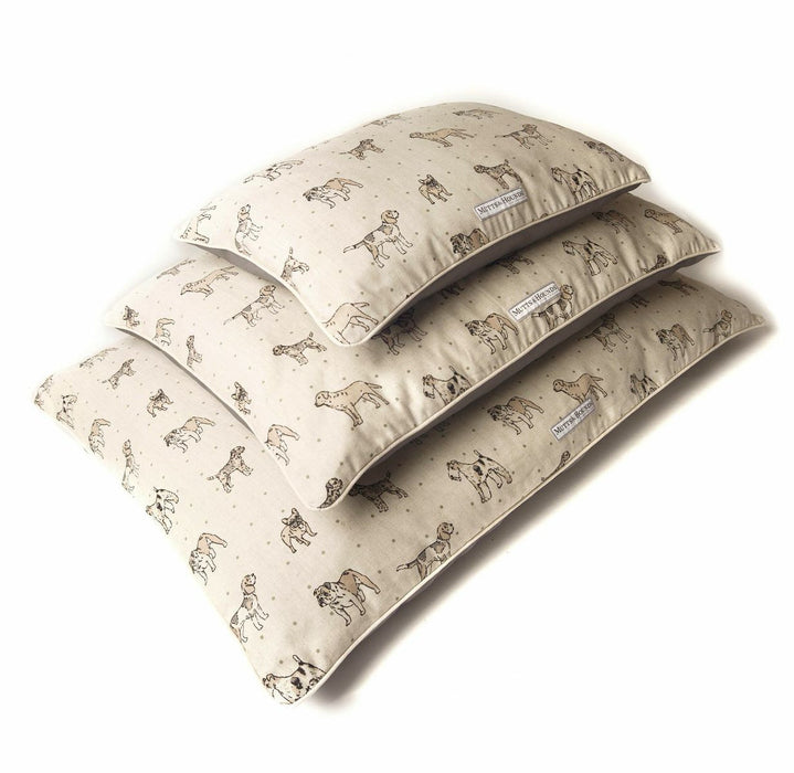 Pillow Dog Bed (Dog Print Natural)