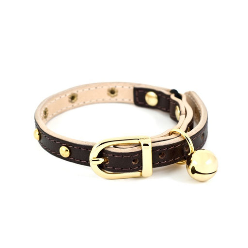 Leather studded Cat Collar (Chocolate Brown)