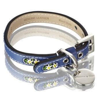 Edelweiss Leather Dog Collar (Blue)