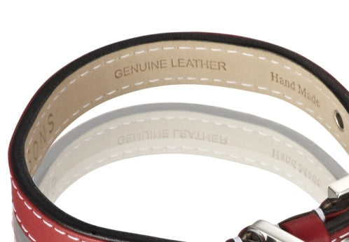 Edelweiss Leather Dog Collar (Red)