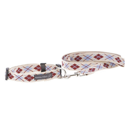Argyle Cream Dog Collar & Lead Set