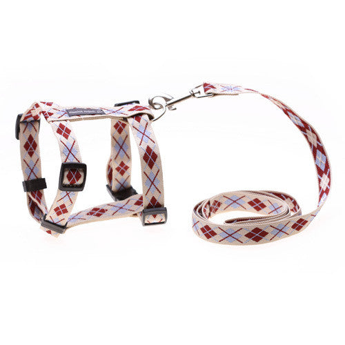 Argyle Cream Dog Harness/Lead Set