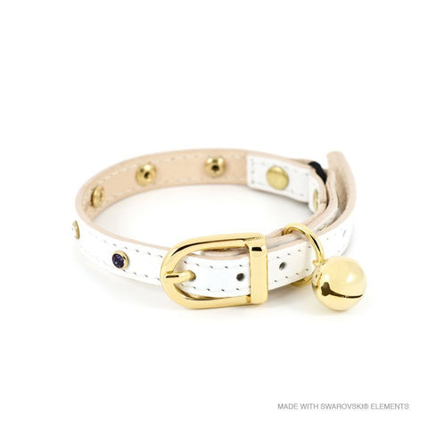 Leather with Crystals Cat Collar (White)