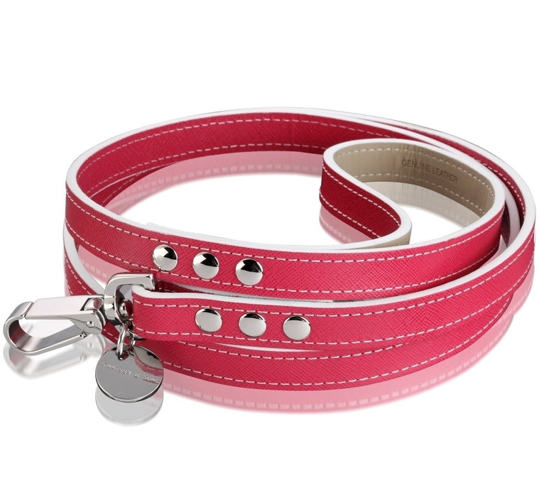 Oxford Saffiano Dog Lead (Fuchsia)