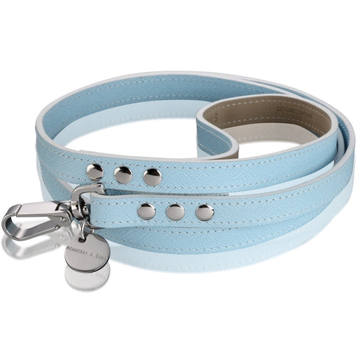 Oxford Saffiano Dog Lead (Baby Blue)