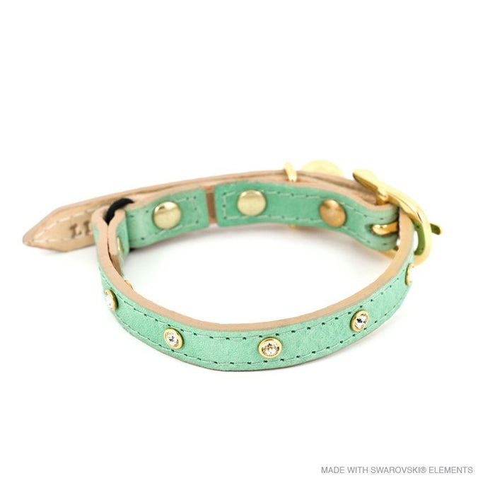 Leather with Crystals Cat Collar (Baby Green)