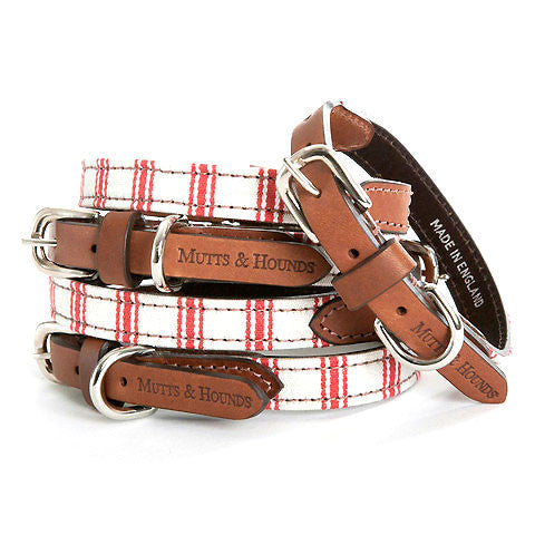Ticking Dog Collar (Cranberry)