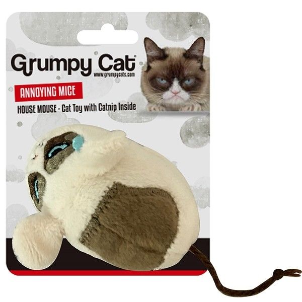 Grumpy Cat Mouse Cat Toy with Catnip