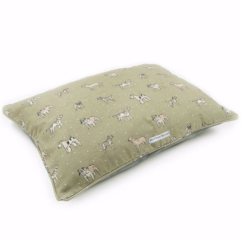 Pillow Dog Bed (Dog Print Green)