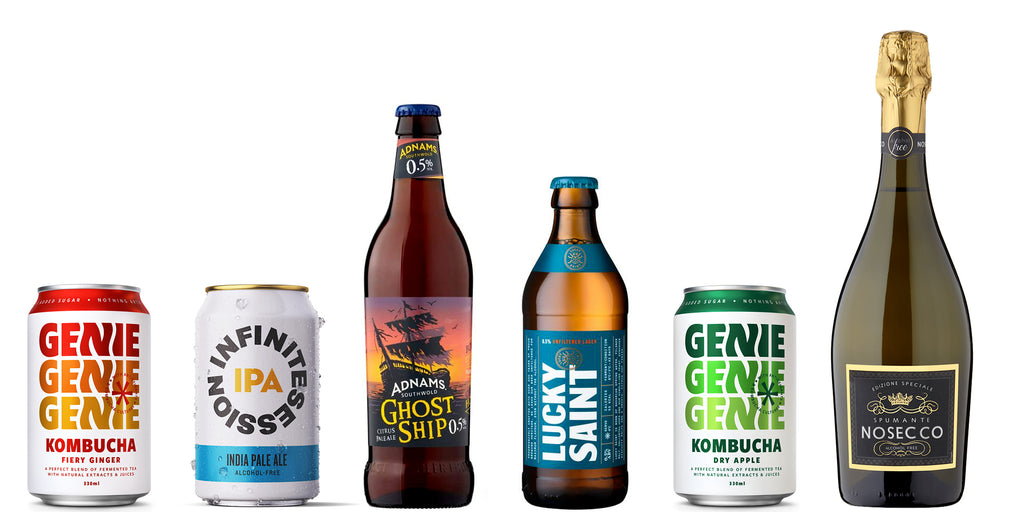 Bottle line up- Genie kombucha, infinite sessions ipa, Adnams ghostship, lucky saint, Nosecco
