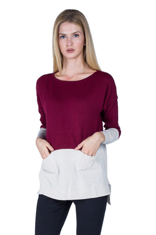 Cashmere sweater - Bordeaux/Cream